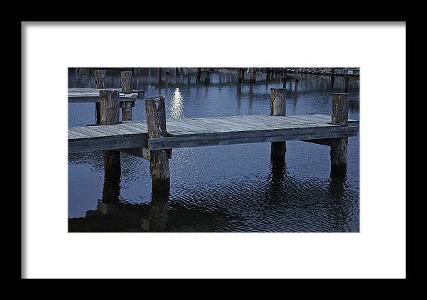 Water Framed Print featuring the photograph Dock In The Moon Light by Dallas Teerlink