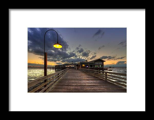 Boats Framed Print featuring the photograph Dock Lights At Jekyll Island by Debra and Dave Vanderlaan