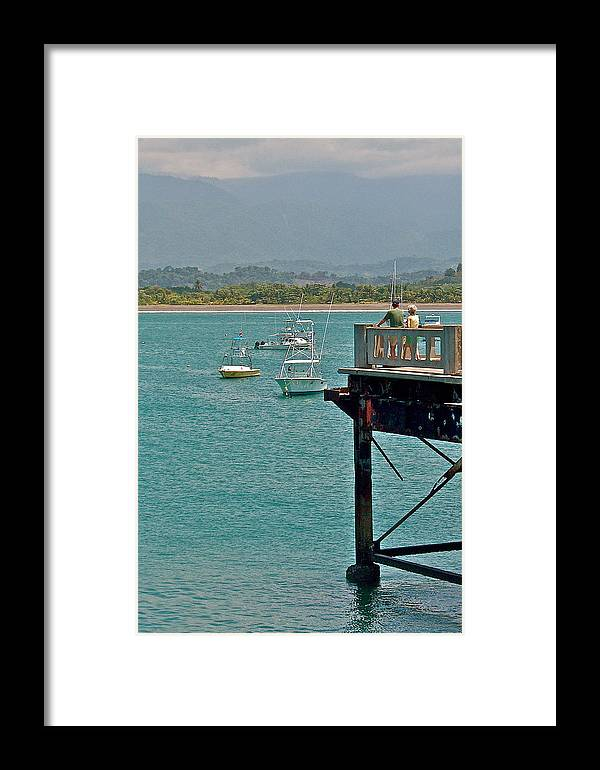 Dock Overlooking Quepos Bay In Costa Rica Framed Print featuring the photograph Dock Overlooking Quepos Bay-costa Rica by Ruth Hager