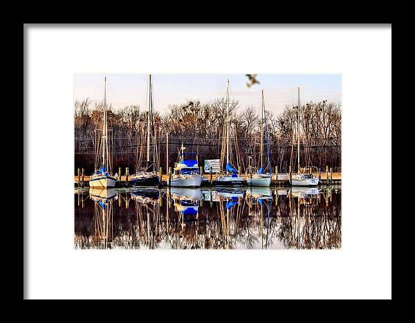 Boat Framed Print featuring the photograph Docked At The Marina by Carolyn Ricks