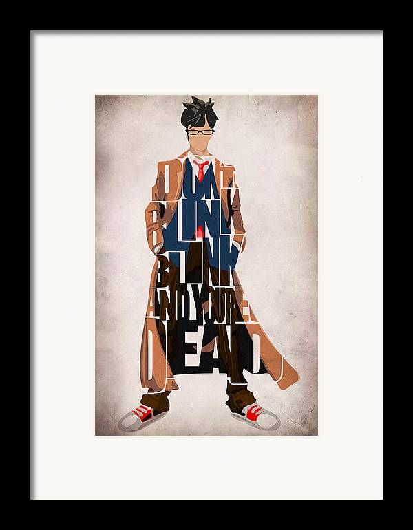 Doctor Who Framed Print featuring the painting Doctor Who Inspired Tenth Doctor's Typographic Artwork by Ayse Deniz