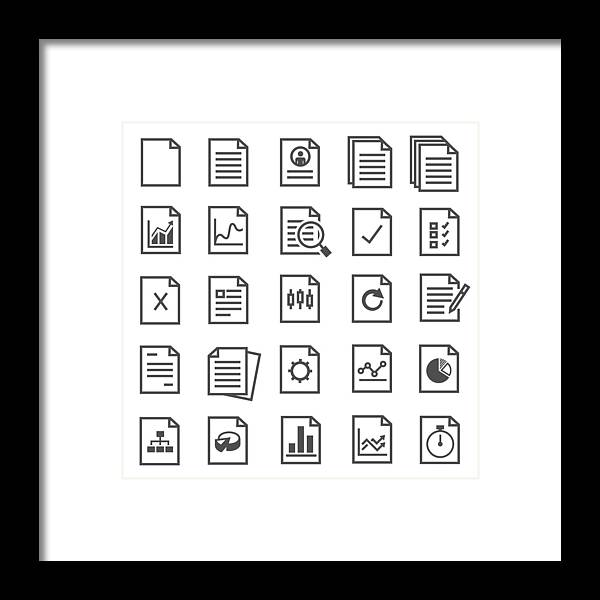 Subtraction Framed Print featuring the drawing Document Icons by Joboy O G