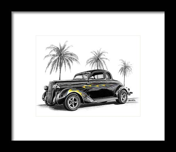 1936 Dodge Coupe Framed Print featuring the drawing Dodge Coupe by Peter Piatt
