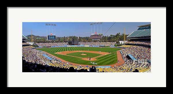 Dodgers Framed Print featuring the photograph Dodger Stadium Panorama by Eddie Yerkish