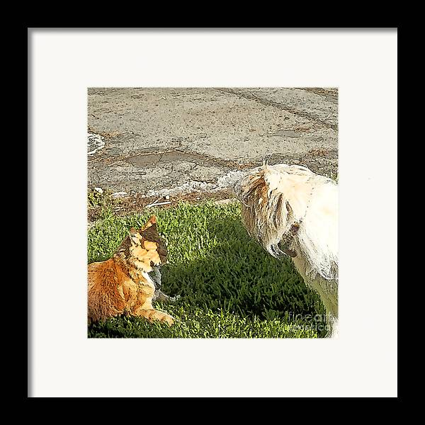 Dog And Cat Fight Framed Print featuring the painting Dog And Cat Discuss by Artist and Photographer Laura Wrede
