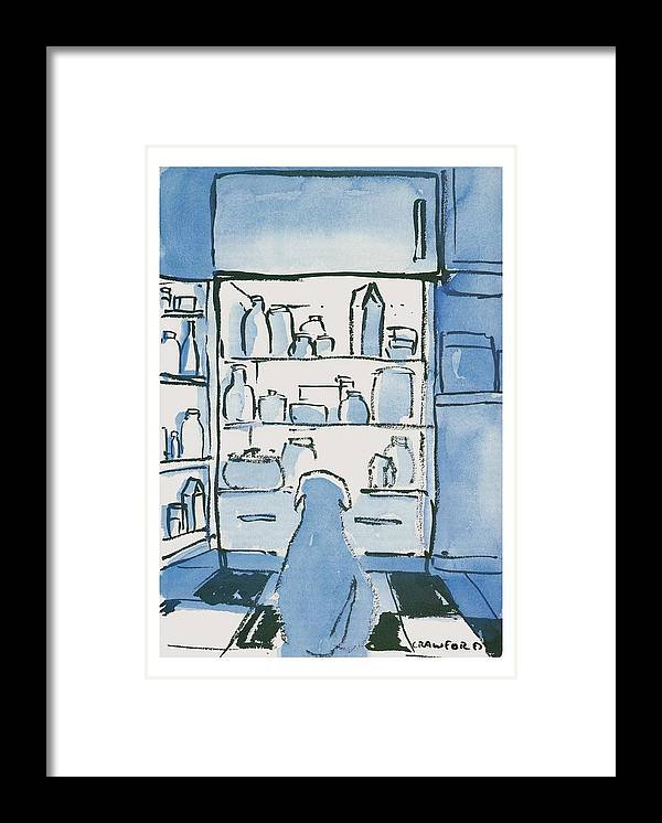 Dog In Front Of An Open Refrigerator Framed Print featuring the drawing Dog In Front Of An Open Refrigerator by Michael Crawford