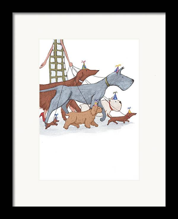 Dog Framed Print featuring the painting Dog Walker by Christy Beckwith