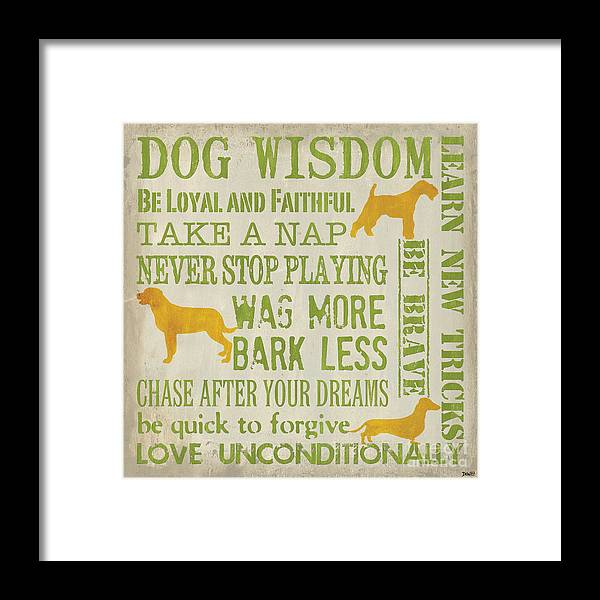 Dog Framed Print featuring the painting Dog Wisdom by Debbie DeWitt