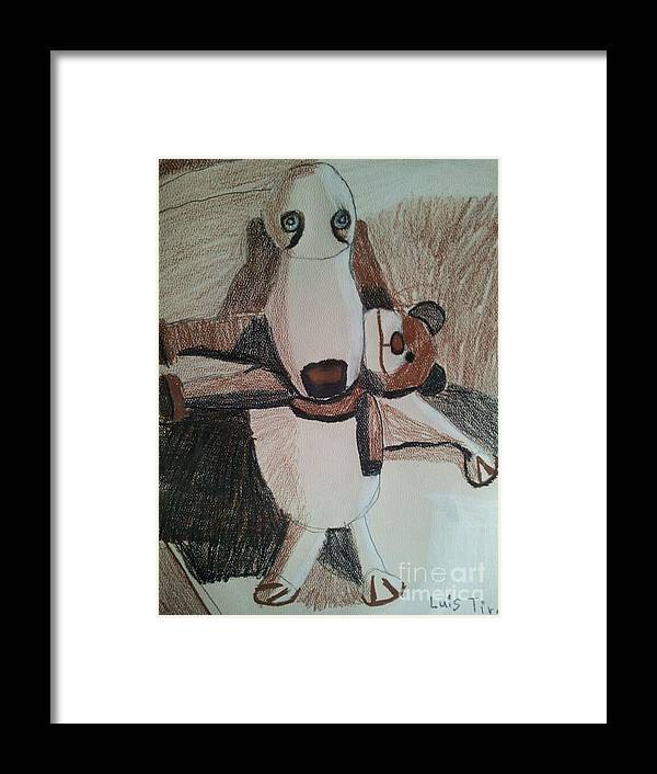 Dog Painting Framed Print featuring the painting Dog With Teddy by Epic Luis Art