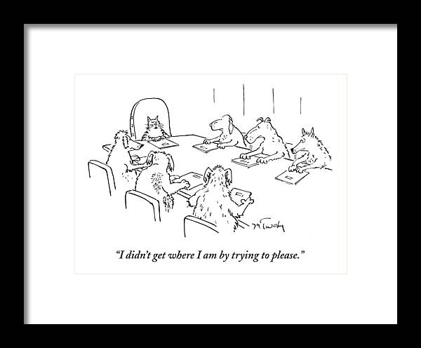 Caption Contest Tk Framed Print featuring the drawing Dogs At A Meeting by Mike Twohy