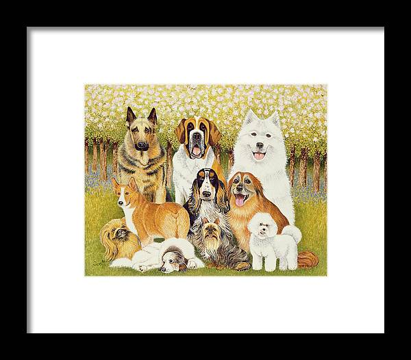 Dog Framed Print featuring the painting Dogs In May by Pat Scott