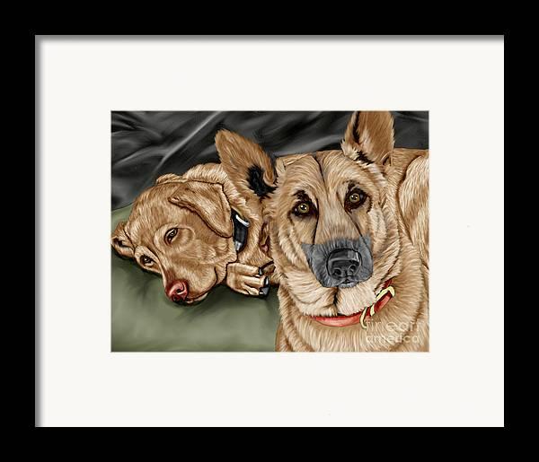 German Shepherd Framed Print featuring the painting Dogs by Karen Sheltrown
