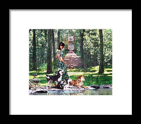 Landscape Framed Print featuring the photograph Dogs Lay At Her Feet by Steve Karol