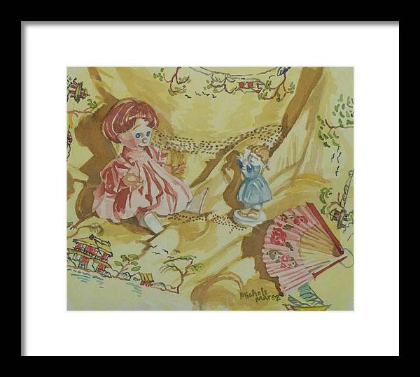 Doll Framed Print featuring the painting Dolly With Fan by Michele Marez