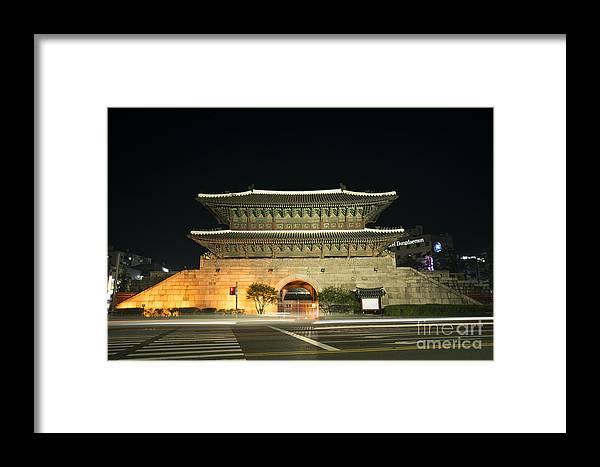 Ancient Framed Print featuring the photograph Dongdaemun Gate Landmark In Seoul South Korea by Jacek Malipan