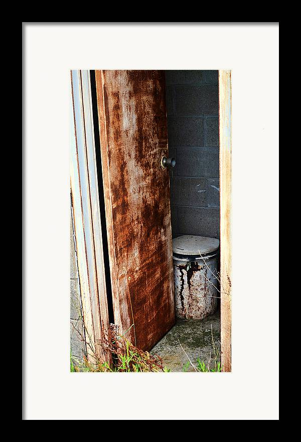 Outhouse Framed Print featuring the pyrography Dont Mind If I Do by Jeffrey Platt