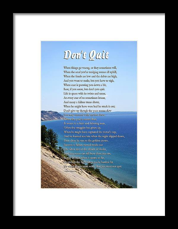 Inspirational Framed Print featuring the mixed media Don't Quit Inspirational Poem by Christina Rollo