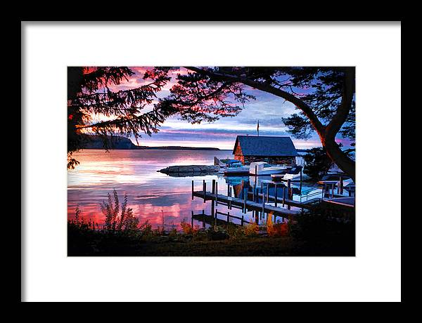 Door County Anderson Dock Sunset Framed Print