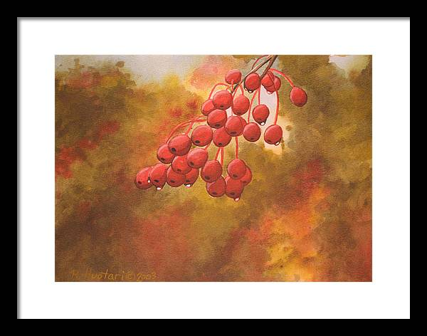 Rick Huotari Framed Print featuring the painting Door County Cherries by Rick Huotari