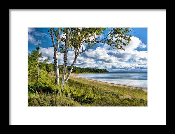 Door County Framed Print featuring the painting Door County Europe Bay Birch by Christopher Arndt