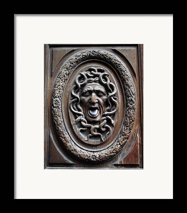 Paris Framed Print featuring the photograph Door In Paris Medusa by A Morddel