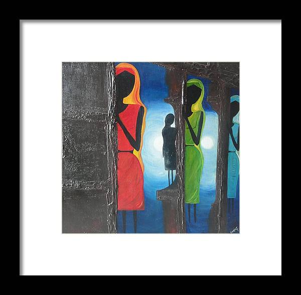 Art Framed Print featuring the painting Door Of Opportunities Never End-sold by Savita Goyal