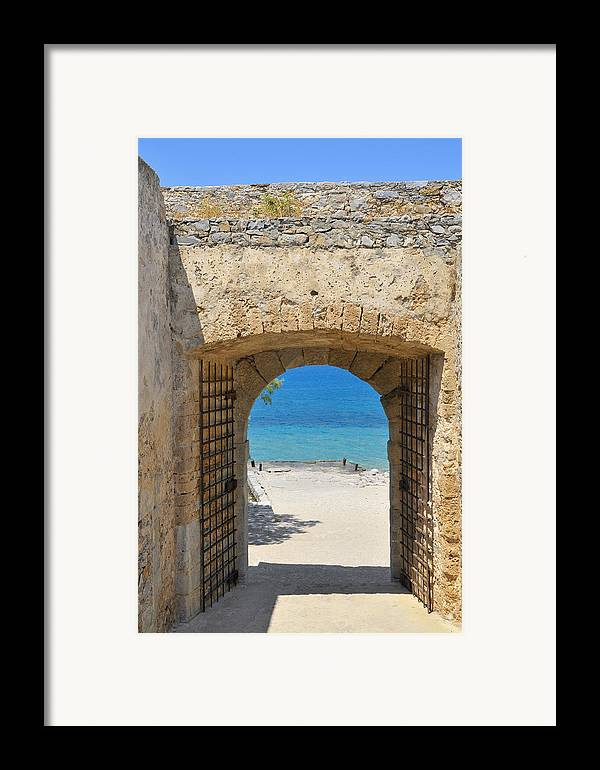 Serenity Framed Print featuring the photograph Door To Joy And Serenity - Beautiful Blue Water Is Waiting by Matthias Hauser