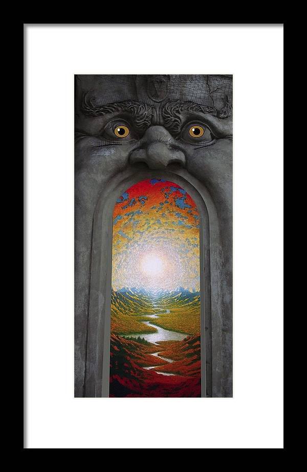 Mandala Sun Framed Print featuring the mixed media Doorway 16 by Karma Moffett