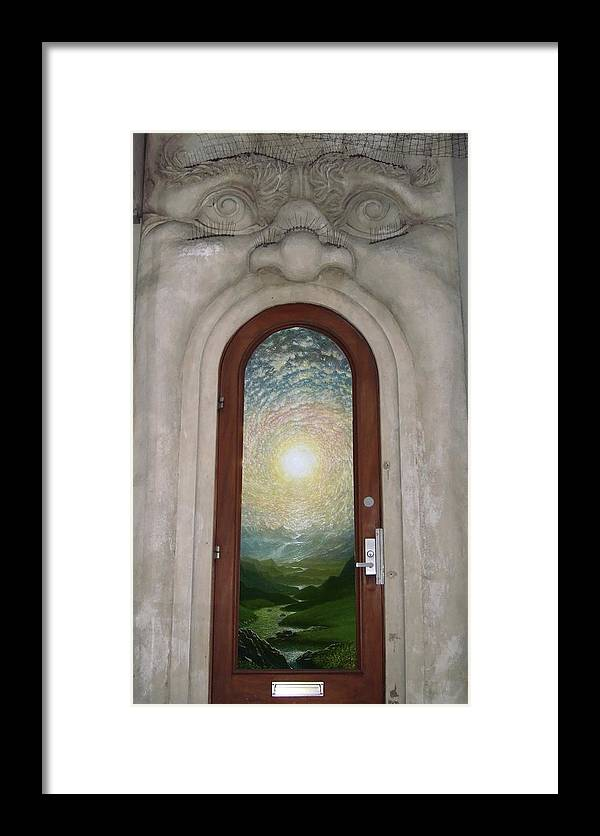 Mandala Sun Framed Print featuring the mixed media Doorway 17 by Karma Moffett