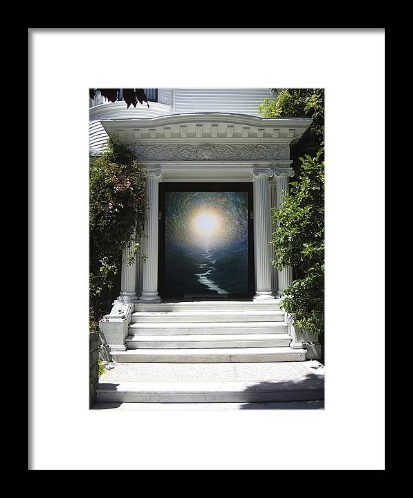 Mandala Sun Framed Print featuring the mixed media Doorway 19 by Karma Moffett