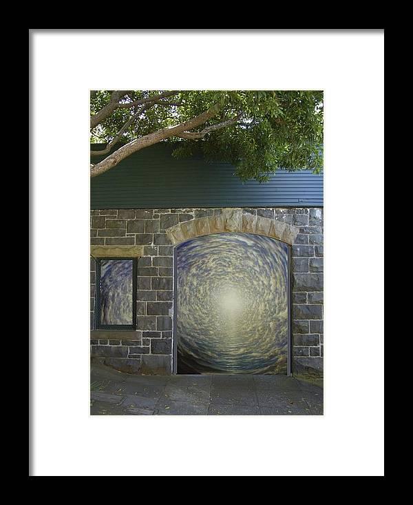 Mandala Sun Framed Print featuring the mixed media Doorway 20 by Karma Moffett