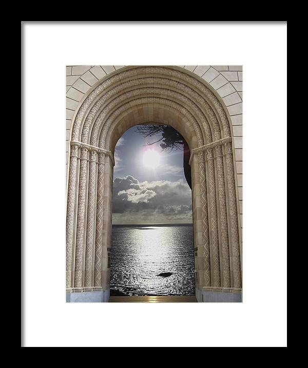 Mandala Sun Framed Print featuring the mixed media Doorway 22 by Karma Moffett
