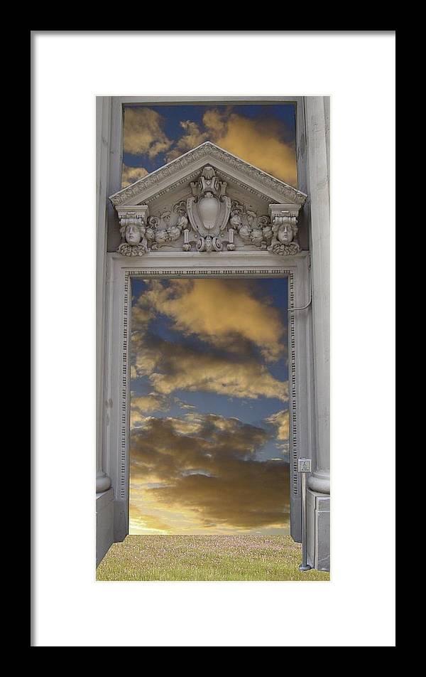Mandala Sun Framed Print featuring the mixed media Doorway 29 by Karma Moffett