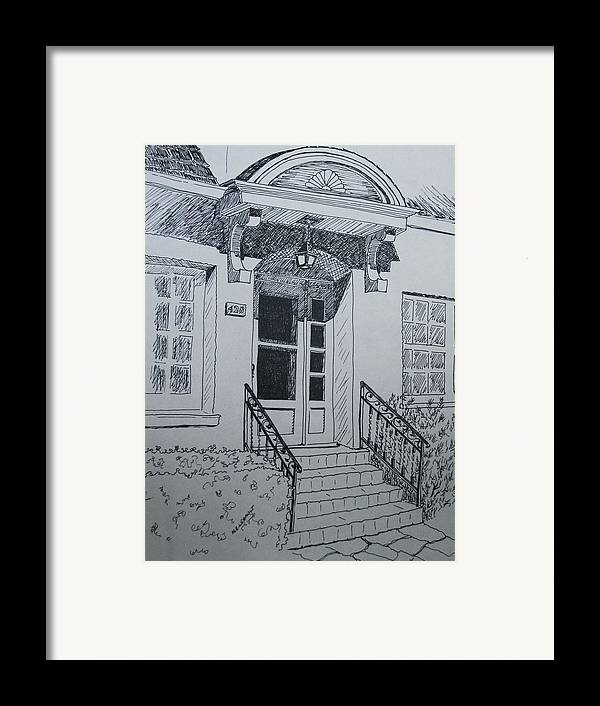 Pen And Ink Framed Print featuring the drawing Doorway by Mary Ellen Mueller Legault