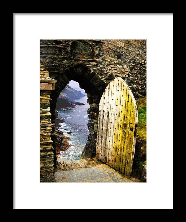 Castle Framed Print featuring the digital art Doorway To The Sea by Vicki Lea Eggen