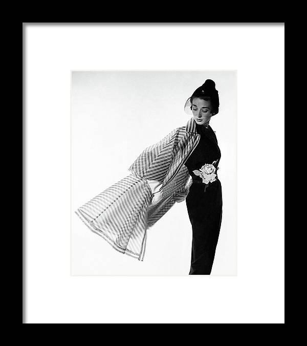 Accessories Framed Print featuring the photograph Dorian Leigh Wearing A Bonnie Cashin Dress by Cecil Beaton