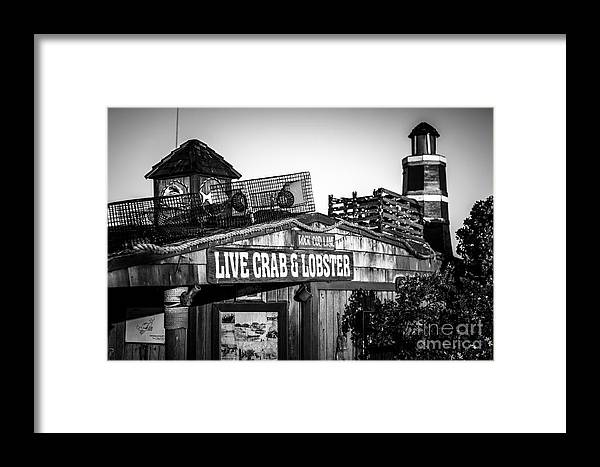America Framed Print featuring the photograph Dory Fishing Fleet Live Crab And Lobster Sign Picture by Paul Velgos