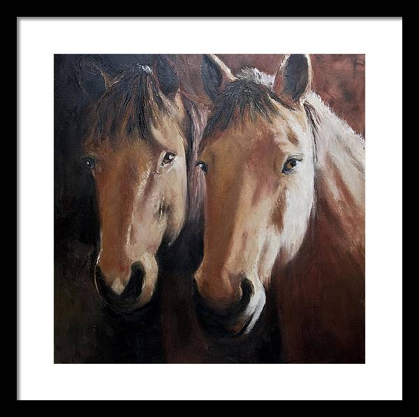 Horse Painting Framed Print featuring the painting Dos Equis by Terri Meyer