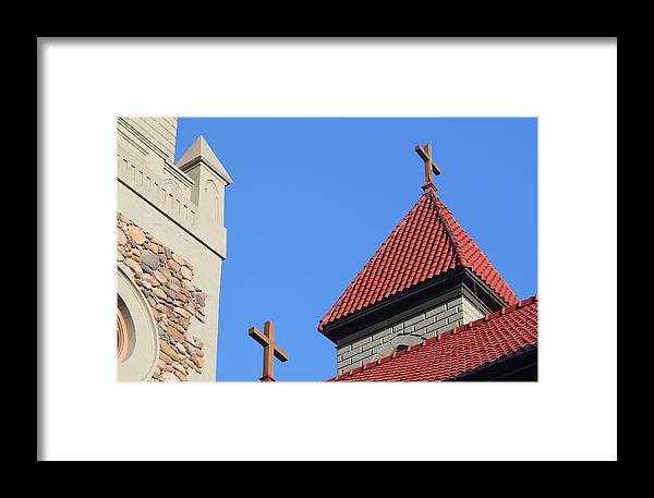 Cross Framed Print featuring the photograph Double Cross by Mary Bedy