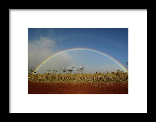 Horizontal Framed Print featuring the photograph Double Rainbow Over A Field In Maui by Stocktrek Images