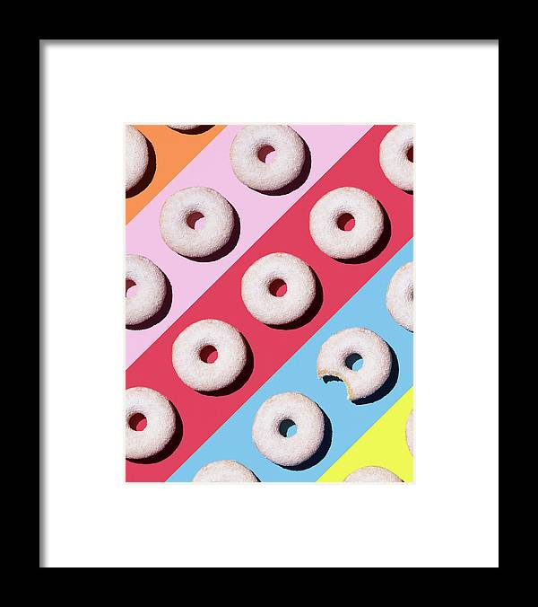 Shadow Framed Print featuring the digital art Doughnuts On Colourful Background by Westend61