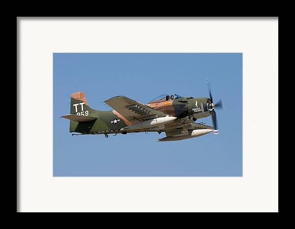 3scape Photos Framed Print featuring the photograph Douglas Ad-4 Skyraider by Adam Romanowicz