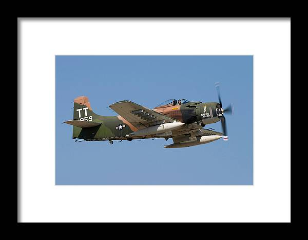 3scape Framed Print featuring the photograph Douglas Ad-4 Skyraider by Adam Romanowicz