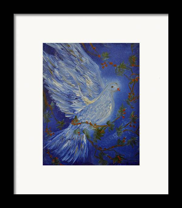 Dove Framed Print featuring the painting Dove Spirit Of Peace by Louise Burkhardt