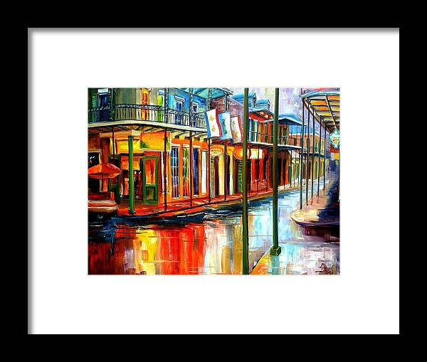 New Orleans Framed Print featuring the painting Downpour on Bourbon Street by Diane Millsap