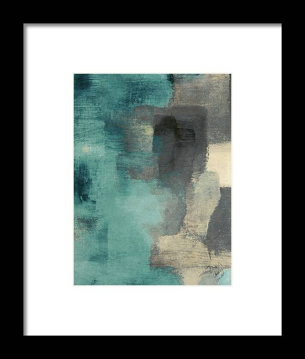 Abstract Framed Print featuring the digital art Downtown Blue Rain I by Lanie Loreth