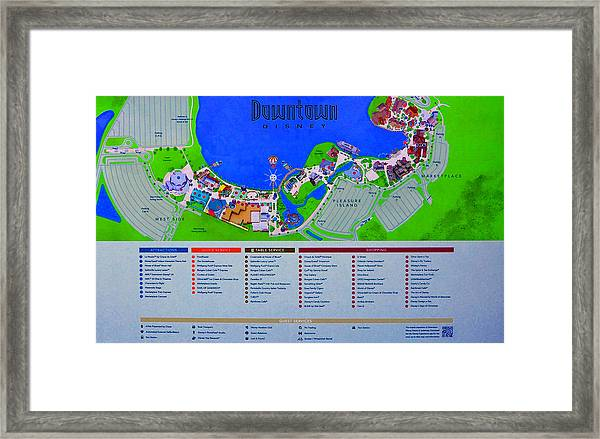 Disney Florida Map.Downtown Disney Florida Map Classic Framed Print By David Lee Thompson