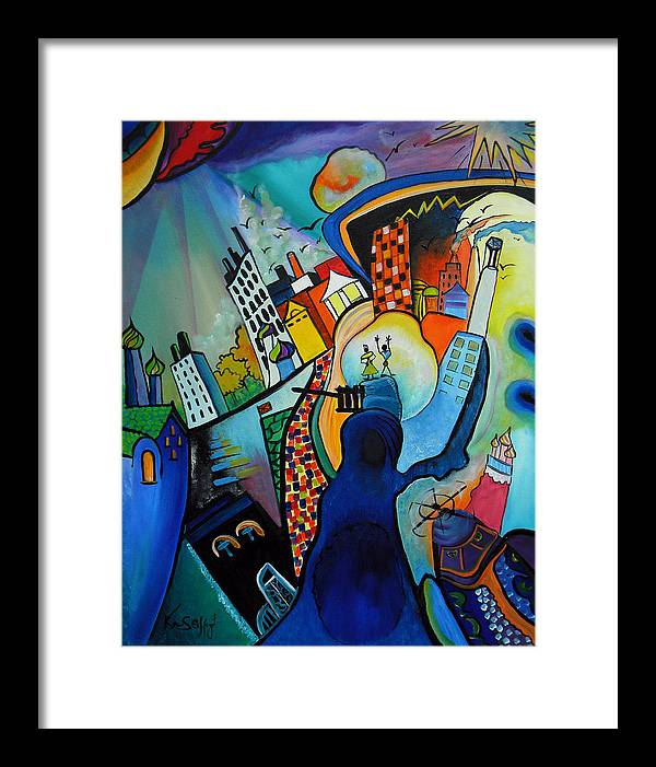 Oil On Canvas Framed Print featuring the painting Downtown by Ken Caffey
