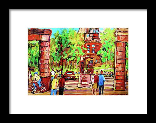 Montreal Framed Print featuring the painting Downtown Montreal Mcgill University Streetscenes by Carole Spandau