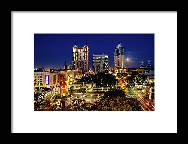 Downtown District Framed Print featuring the photograph Downtown San Antonio by John Cabuena Flipintex Fotod